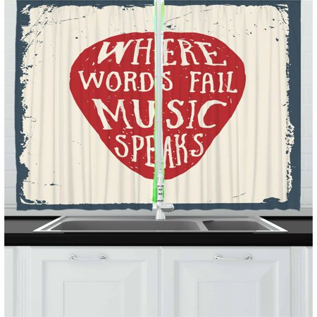 Rock Music Curtains 2 Panels Set, Where Words Fail Music Speaks Quote Musical Slogan Hand Drawn Pick, Window Drapes for Living Room Bedroom, 55W X 39L Inches, Beige Red Slate Blue, by Ambesonne ()