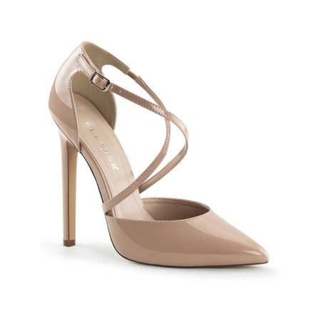 Womens Nude Pumps Shoes with Criss Cross Straps and 5 Inch Single Sole