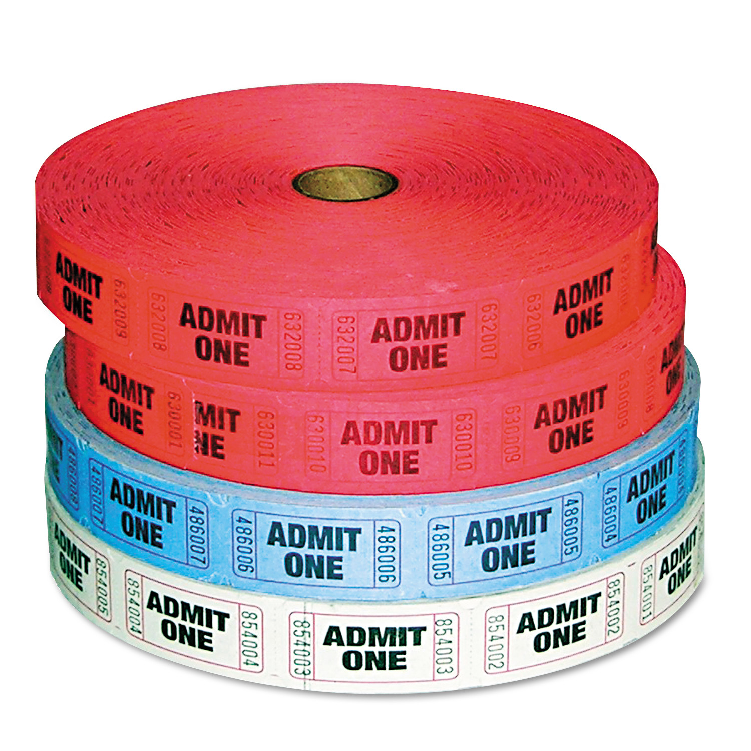 PM Company Admit-One Ticket Multi-Pack, 4 Rolls, 2 Red, 1 Blue, 1 White, 2000/Roll -PMC59001