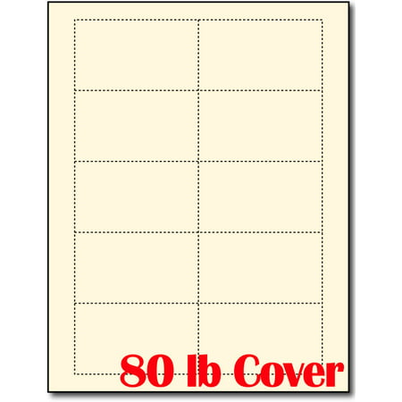 Heavyweight Blank Cream Business Card Sheets 25 Sheets 250