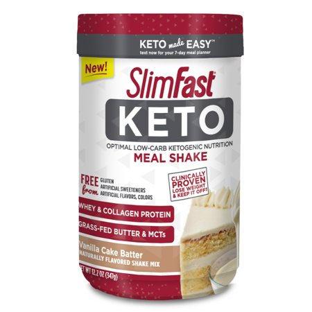 SlimFast Keto Meal Replacement Shake Powder, Vanilla Cake Batter, 11.01oz. Canister (10