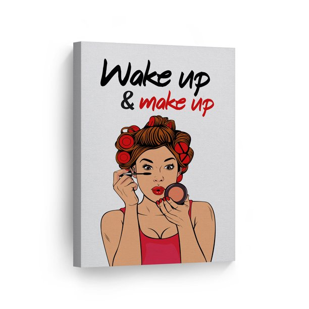 Smile Art Design Wake Up Make Up Bathroom Decor Canvas Print Pretty Woman Bathroom Sign Bathroom Wall Decor Wall Art Home Decoration Made In Usa 40x30 Walmart Com Walmart Com