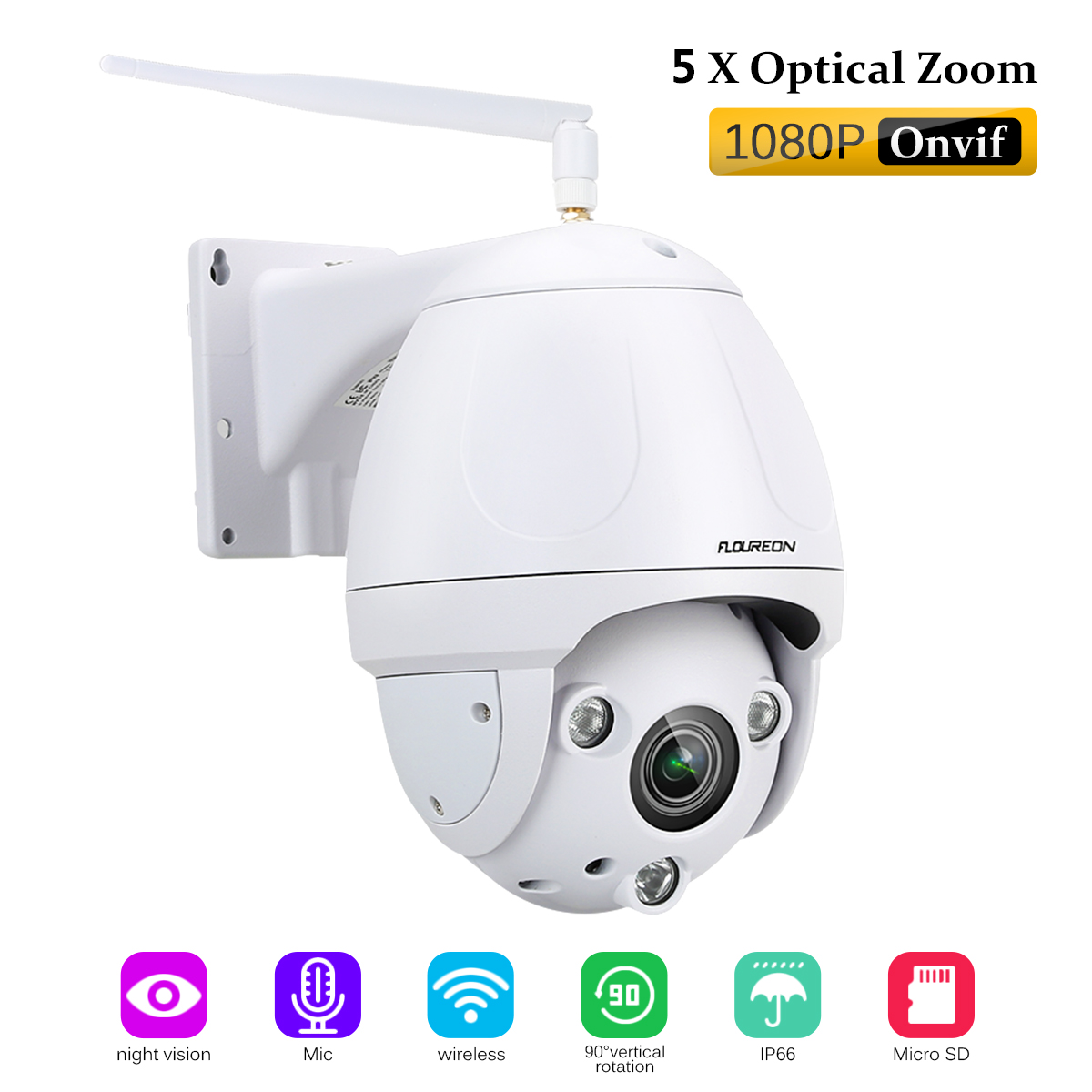 FLOUREON 1080P 2.0MP Wire-less Security Pan/Tilt PTZ 5x ZOOM Cameras Night Vision Dome Camera Auto Focus Pre-installed 128G Memory Card