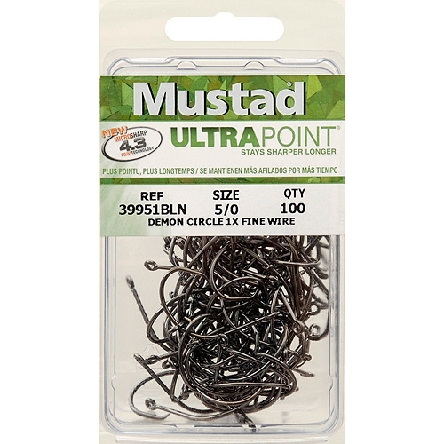 Mustad Ultrapoint 39951NP Demon Hook Perfect Circle Hook, In-Line 1X Fine Wire - Black Nickel - 100 Per Pack