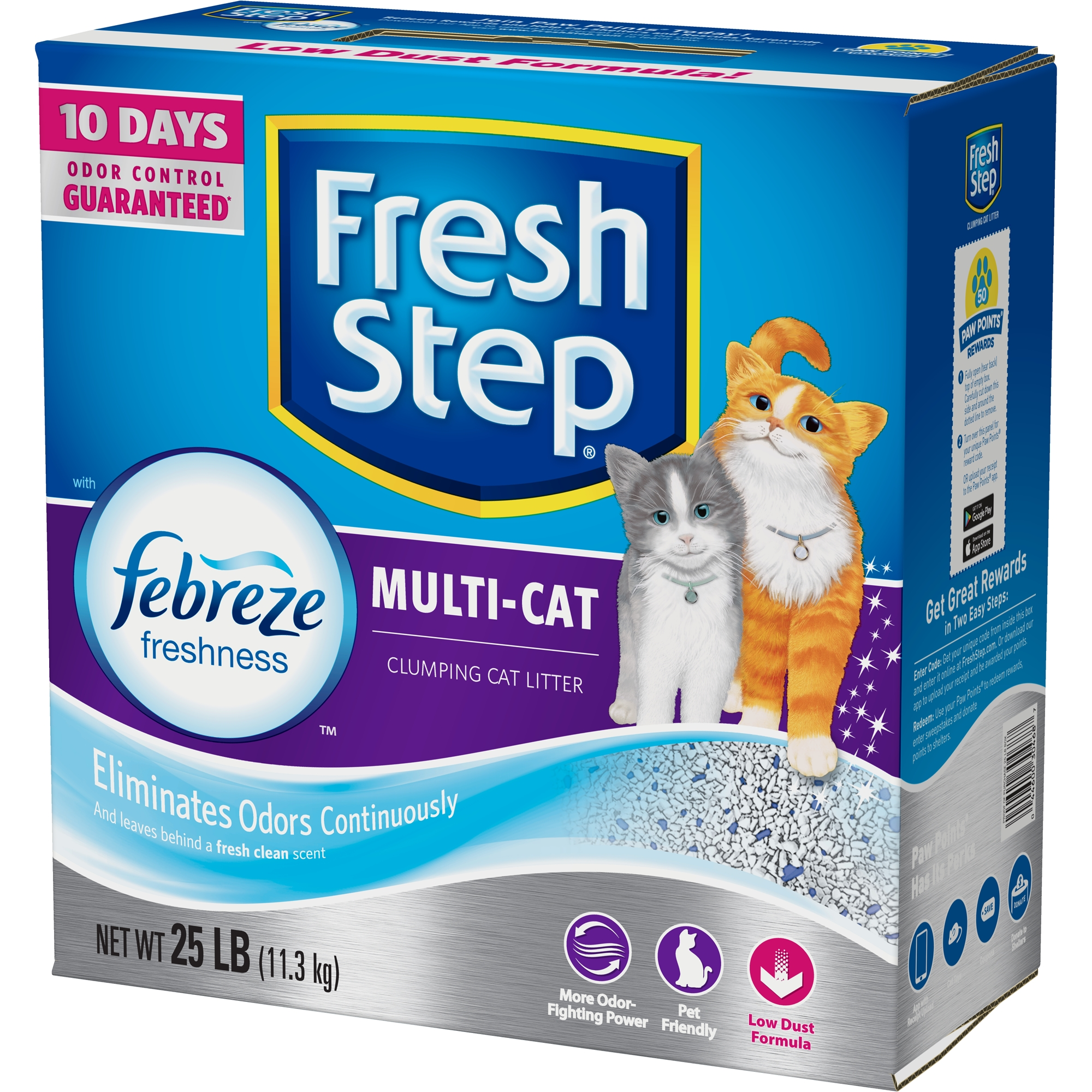 Fresh Step Multi-Cat Scented Litter with the Power of Febreze, Clumping Cat Litter, 25-lb