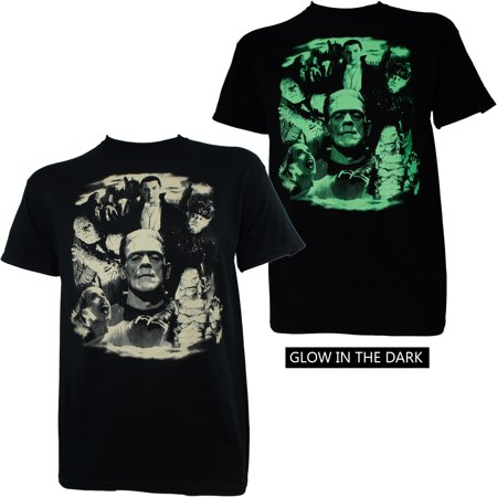 Universal Monsters Mens Collage Dracula Frankenstein Bride Glow T-Shirt - Frankenstein Jacket