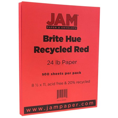 JAM Paper Bright Color Paper, 8.5 x 11, 24lb Brite Hue Red Recycled, 500 Sheets/Ream