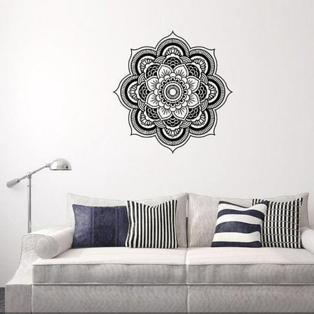 Mandala Flower Indian Bedroom Wall Decal Art Stickers Mural Home Vinyl Family BK ()