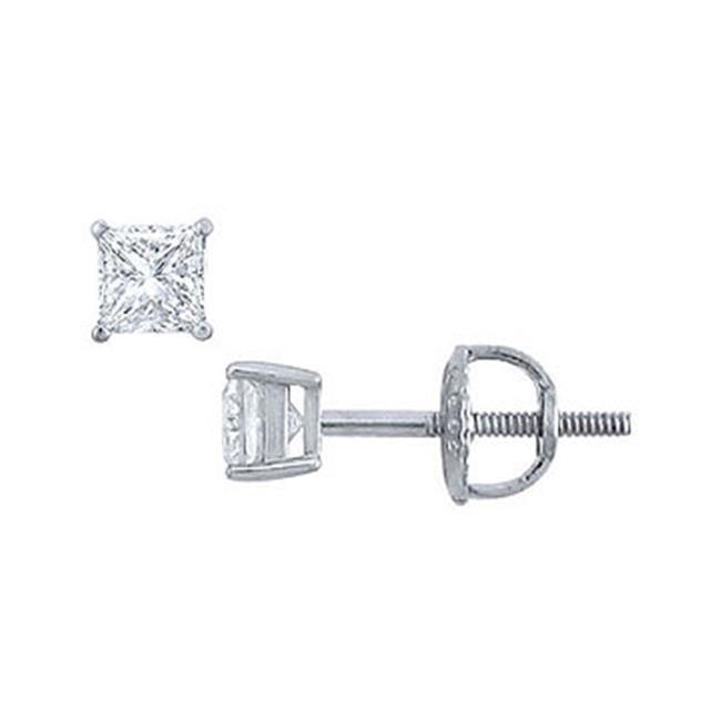 Fine Jewelry Vault UBERPTSQ025DSI Platinum- Princess Cut Diamond Stud Earrings - 0. 25 CT.  TW.