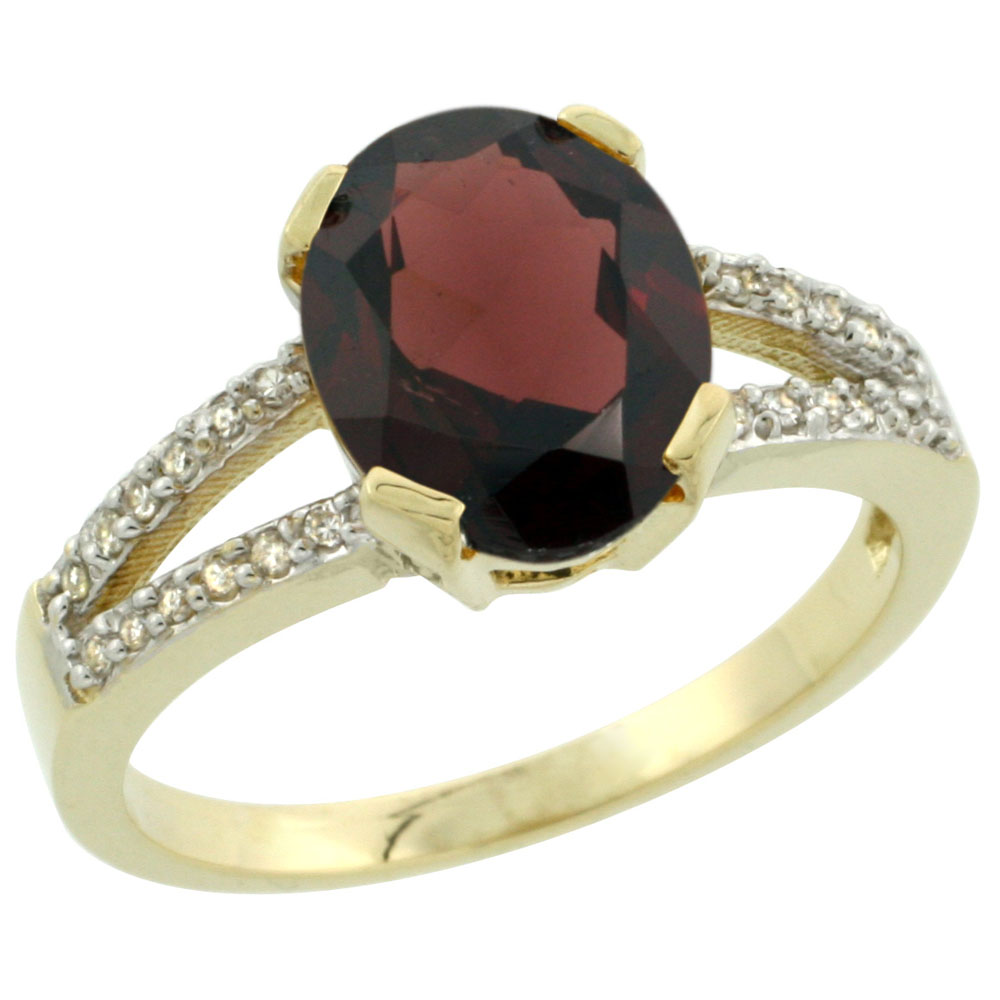14K Yellow Gold Diamond Halo Natural Garnet Ring Oval 10x8mm, sizes 5-10 by WorldJewels
