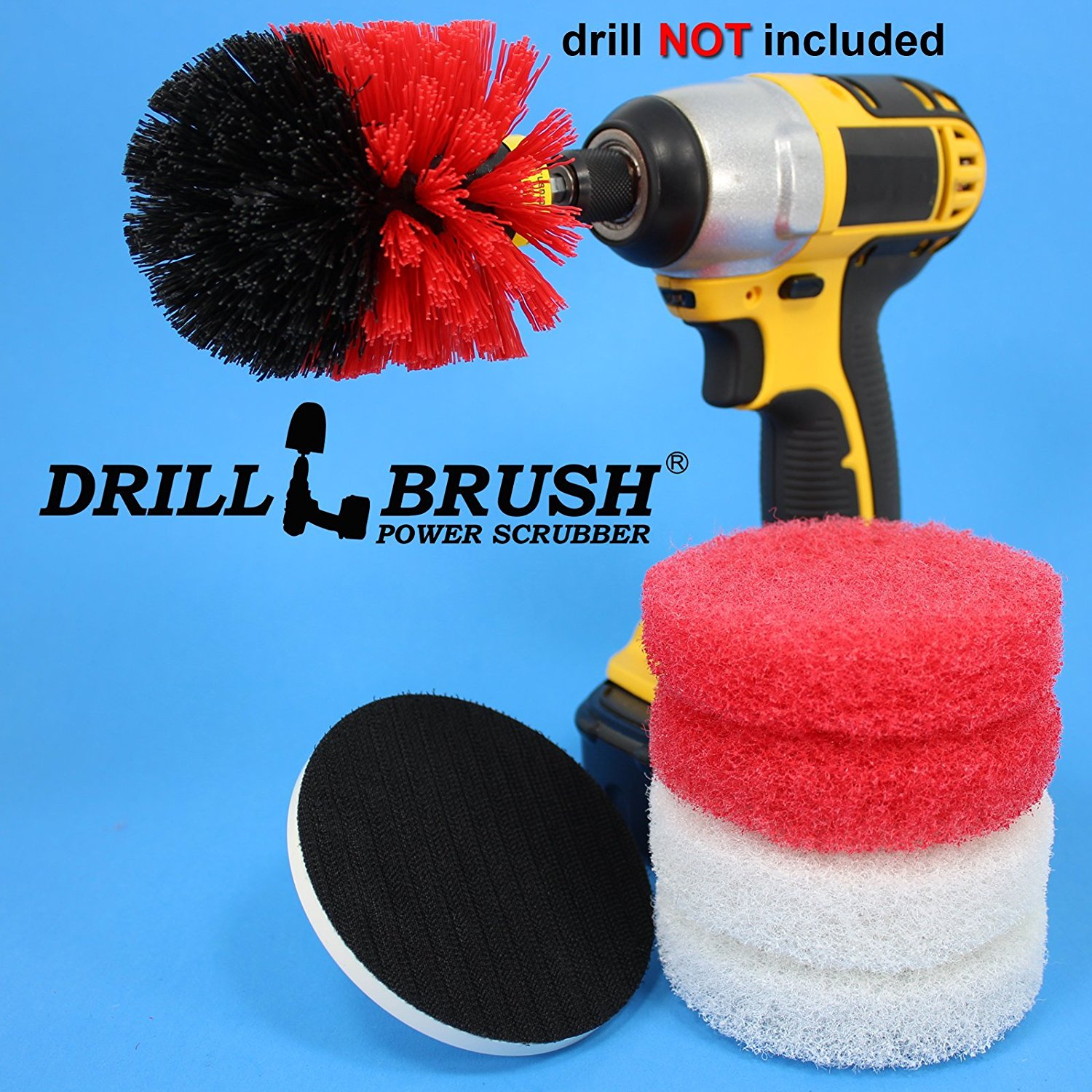 Good Bathroom Electric Scrub Brush With 4 Inch Scrub Pads With Velcro Attachment  By Drillbrush