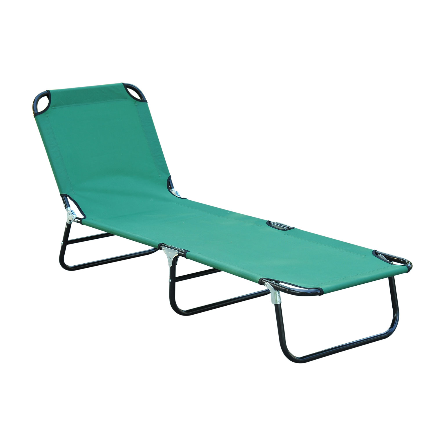Outsunny Deluxe Folding Adjustable Sun Lounger Camping Cot