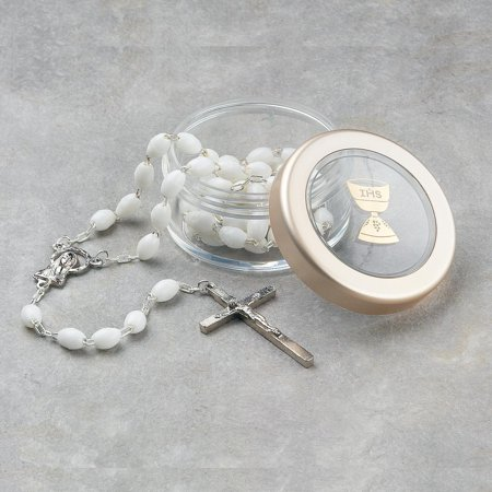 First Communion White Rosary Clear Box Religious Baptism/christening/communion Fashion Jewelry Ideal Gifts For Women Gift Set From Heart - First Communion Jewelry For Girl
