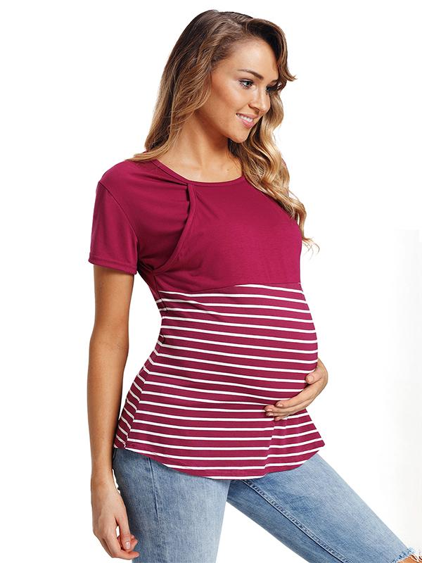 TINHAO Maternity Short Sleeve Round Neck Breastfeeding Shirt Striped Stitching Doubled Layered Nursing Tops