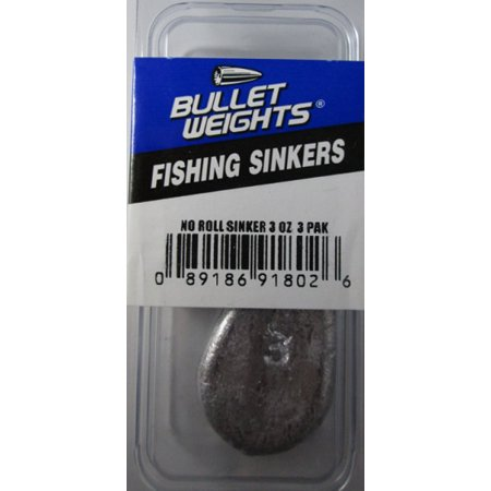 Bullet weights pbnr3 no roll sinker 3 oz fishing sinker 3 for Fishing weights walmart