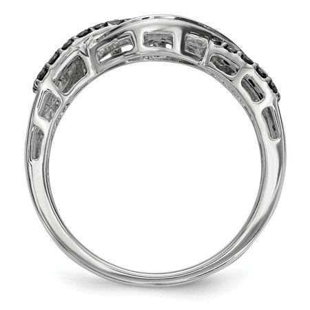 Sterling Silver Black and White Diamond Ring Size 7 - image 2 of 3