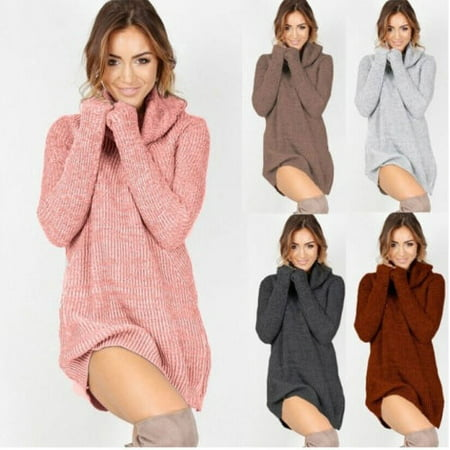 Womens Cowl Neck Warm Loose Long Sleeve Oversize Sweater Jumper Shirt Tops Dress Cowl Neck Short Sleeve Sweater