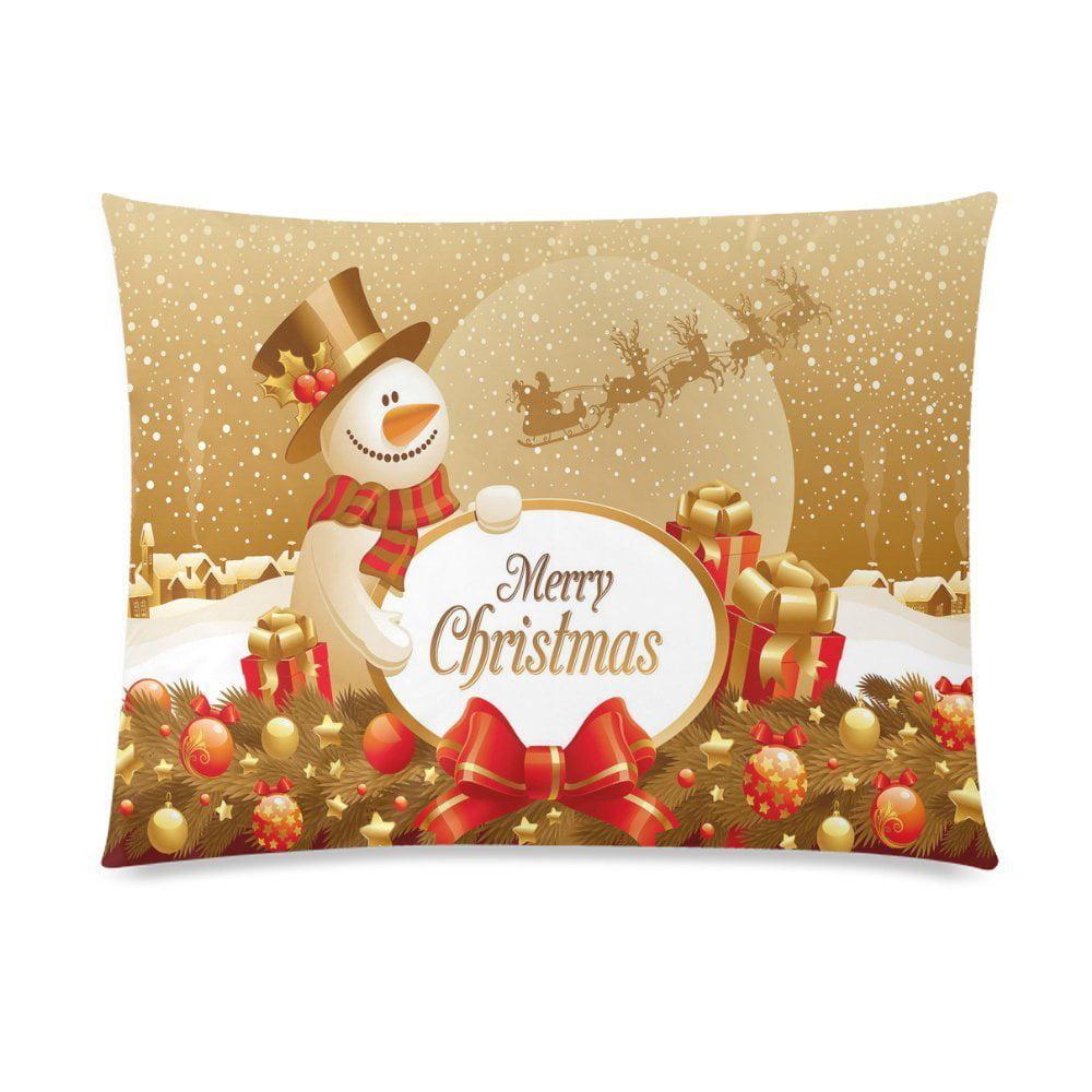ZKGK Merry Christmas Cute Snowman Snow Snowflake Home Decor Pillowcase 20 x 30 Inches,... by ZKGK