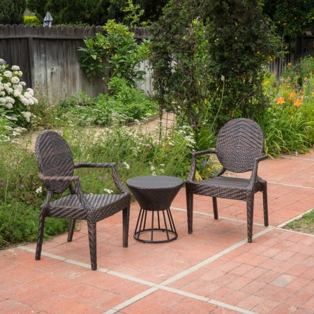 Anaheim 3 Piece Set - Anaheim Outdoor 3 Piece Wicker Stacking Chair Chat Set with Round Table, Multibrown
