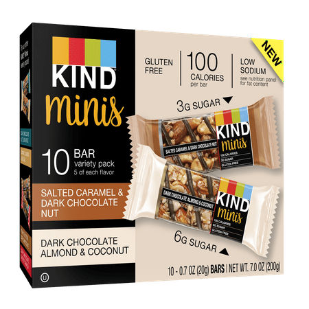 KIND Minis Salted Caramel & Dark Chocolate Nut and Dark Chocolate Almond & Coconut 10ct