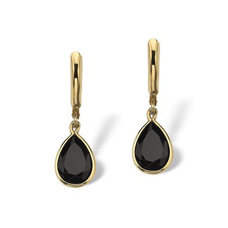 (Pear-Shaped Genuine Onyx 14k Yellow Gold-Plated Drop Earrings)