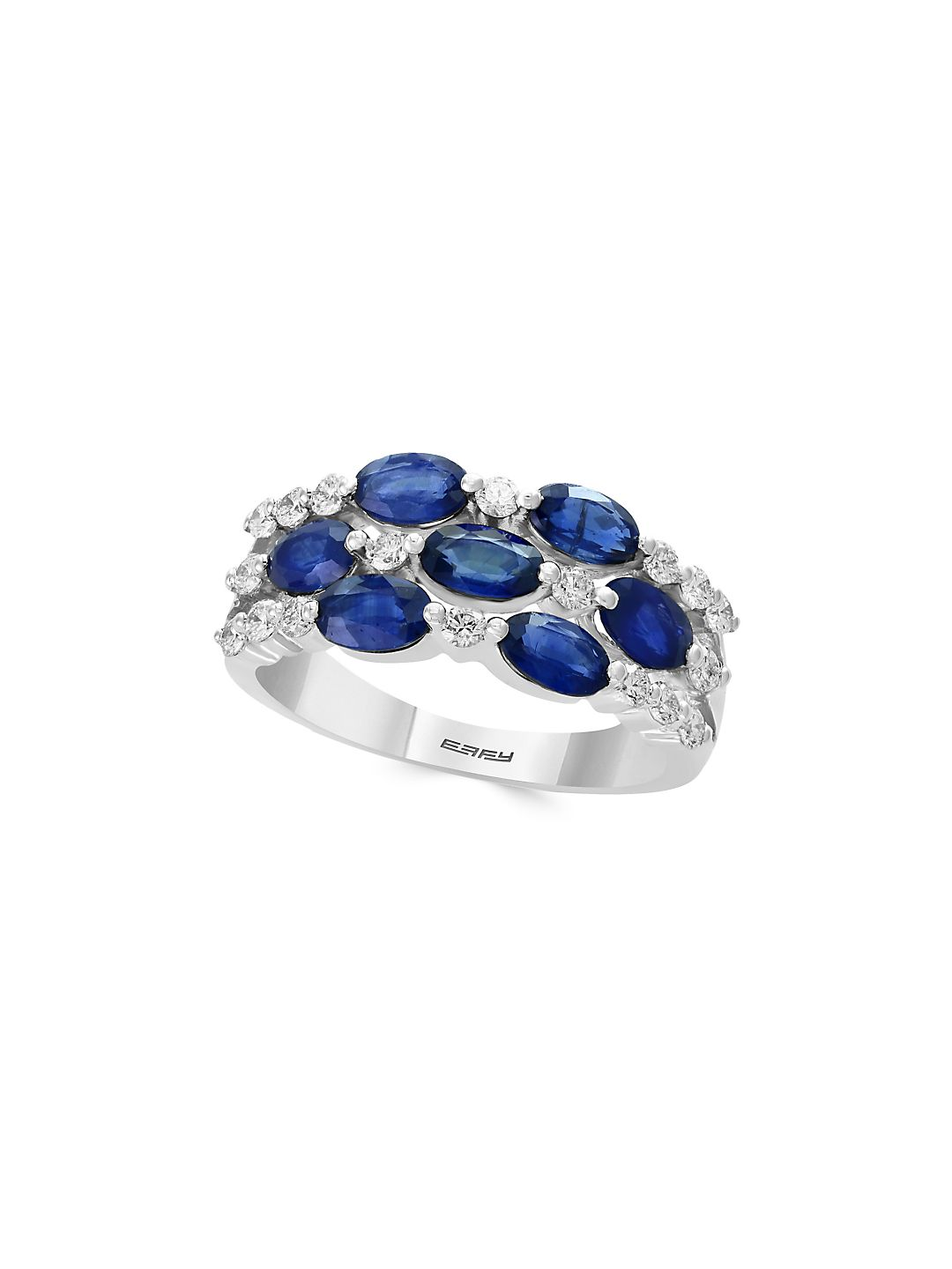 Royale Bleu Diamond, Natural Sapphire and 14K White Gold Ring