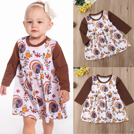 New Baby Girls Infant Party Dress Kids Halloween Turkey Pumpkin Costume Outfit](Baby Costume Halloween Pumpkin)