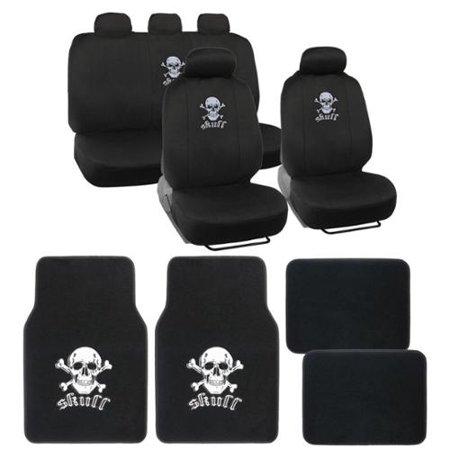 BDK Full Set Skull Car Seat Covers And Floor Mats