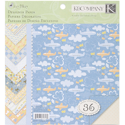 "K&Company Simply K Itsy Bitsy Double-Sided Paper Pad, 8.5"" x 8.5"", Baby Boy, 36 Sheets, 12 Designs of 3 Each"