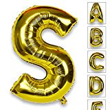 Just Artifacts Glossy Gold (30-inch) Decorative Floating Foil Mylar Balloons - Letter: S - Letter and Number Balloons for any Name or Number Combination! (Letter Mylar Balloons)