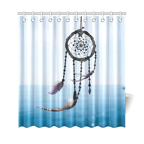GCKG Dream Catcher Feather Shower Curtain Seascape Polyester Fabric Bathroom Sets With Hooks 66x72 Inches