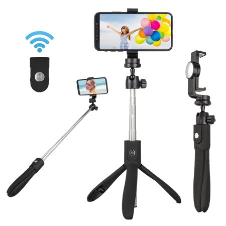EEEKit Bluetooth Selfie Stick Tripod Extendable Cell Phone Tripod with Wireless Remote Compatible with iPhone X XS Max XR 8 Plus, Galaxy S10/S10 Plus, S9/S9 Plus ()