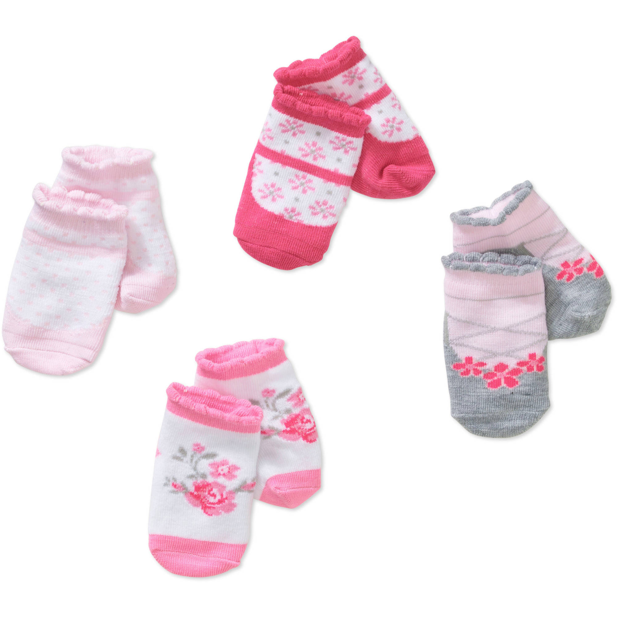 Newborn Baby Girl Socks Set - 4 Pack
