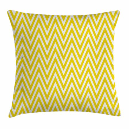 Yellow Chevron Throw Pillow Cushion Cover, Thin Yellow and White Chevron Stripes Retro Pattern in Contemporary Design, Decorative Square Accent Pillow Case, 16 X 16 Inches, Yellow White, by Ambesonne
