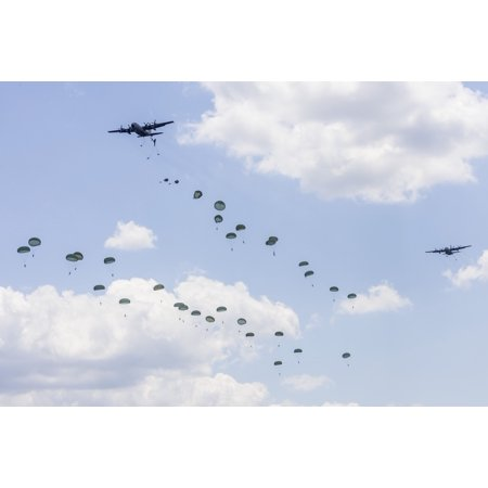 Us Army Air Force - US Air Force C-130 Hercules drop US Army airborne troops over Andrews Air Force Base Maryland Poster Print