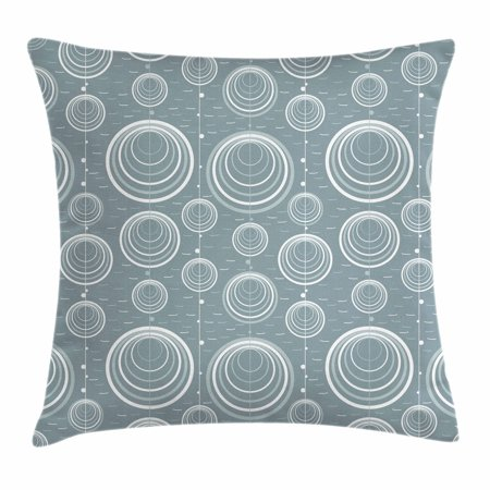 Geometric Throw Pillow Cushion Cover, Inner Spirals Ellipse Forms with Wavy Horizontal Short Lines Abstract Modern, Decorative Square Accent Pillow Case, 16 X 16 Inches, Blue Grey Dust, by Ambesonne](Geometric Form)