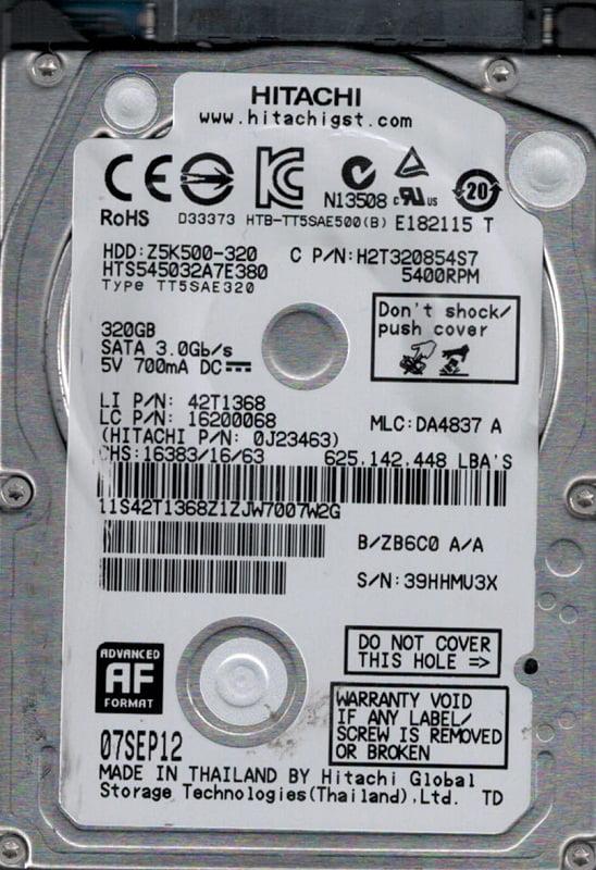 HTS545032A7E380 P N: 0J23463 MLC: DA4837 Hitachi 320GB by Hitachi