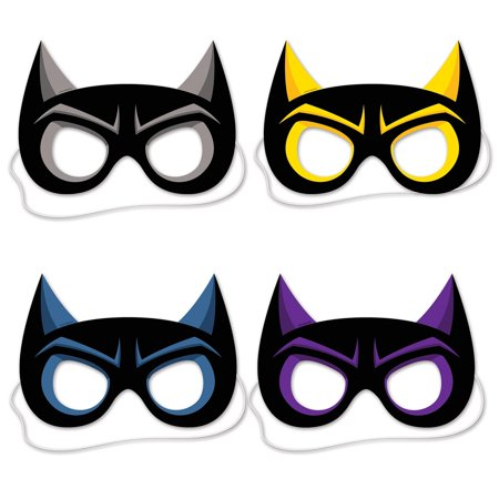 "Club Pack of 48 Halloween and Party Black Highlighted Hero Face Eye Mask 8.5"" - Black Face Halloween Mask"