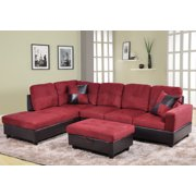 Sectional Sofa_AYCP Furniture_ 3pcs L-Shape Sectional Sofa Set, Left Hand Facing Chaise, Microfiber & Faux Leather Upholstery Material, Red Color, More Colors & Styles Available