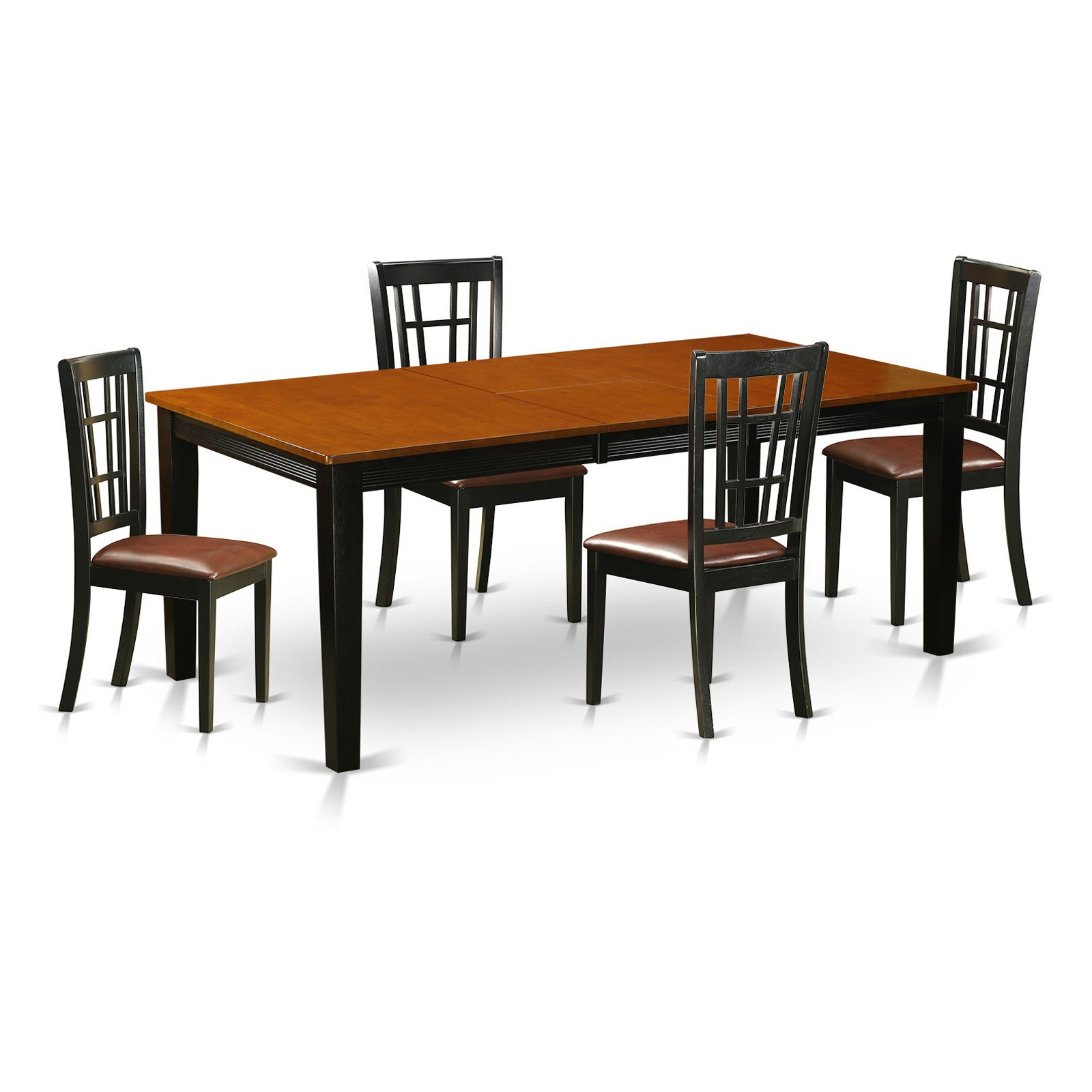 East West Furniture Quincy 5-Piece Windowpane Dining Table Set
