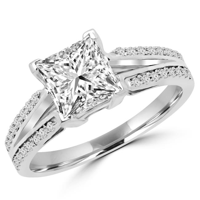 Majesty Diamonds MD170116-5.75 1.5 CTW Princess Diamond Split Shank Solitaire with Accents Engagement Ring in 14K White Gold - 5.75 - image 1 de 1