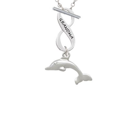 Antiqued Dolphin Grandma Infinity Toggle Chain Necklace (Dolphin Necklaces)