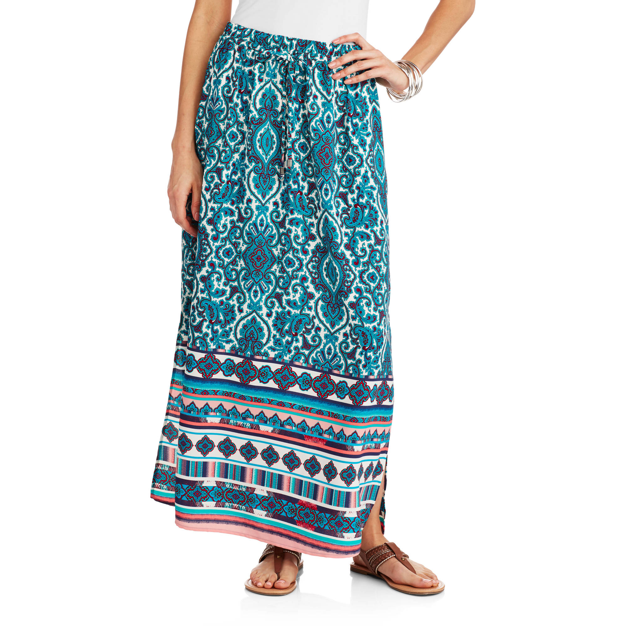 Faded Glory Women's Woven Maxi Skirt With Tie At Waist