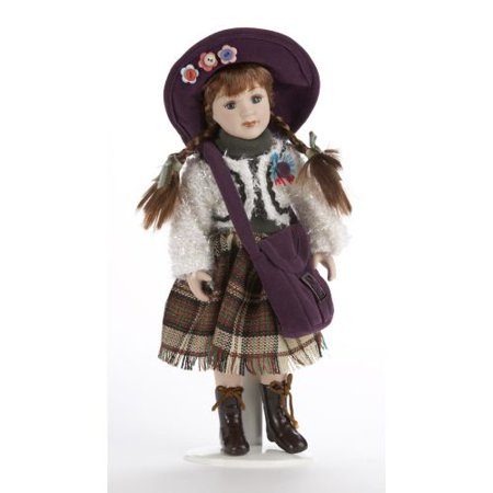 Delton 10 Inches Porcelain Sweater Doll, Purple (Porcelain Doll Halloween)