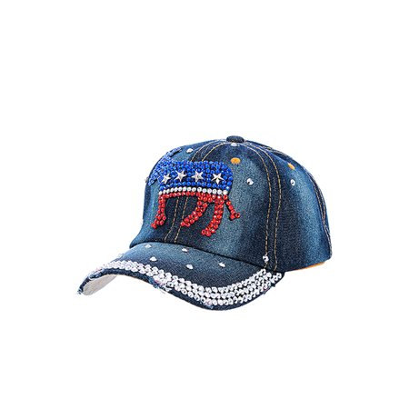 Black Denim Democrat Donkey Star Studded Accent Design Cap Hat