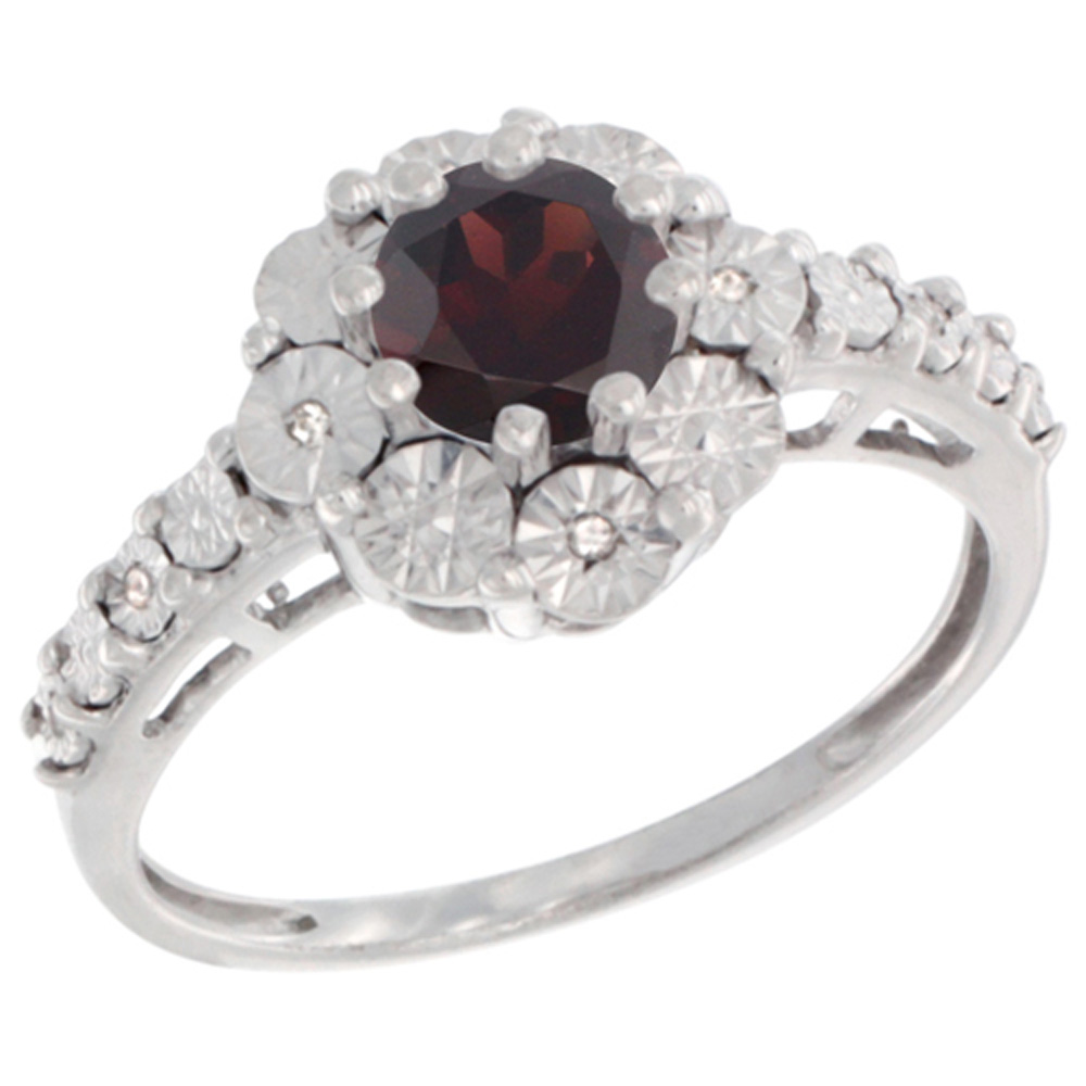 Sterling Silver Natural Garnet Ring Round 5x5, Diamond Accent, sizes 5 10 by WorldJewels