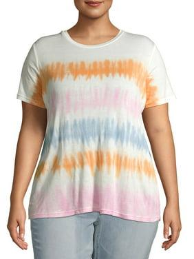 No Boundaries Juniors' Plus Size Knot Front Tie-Dye T-Shirt