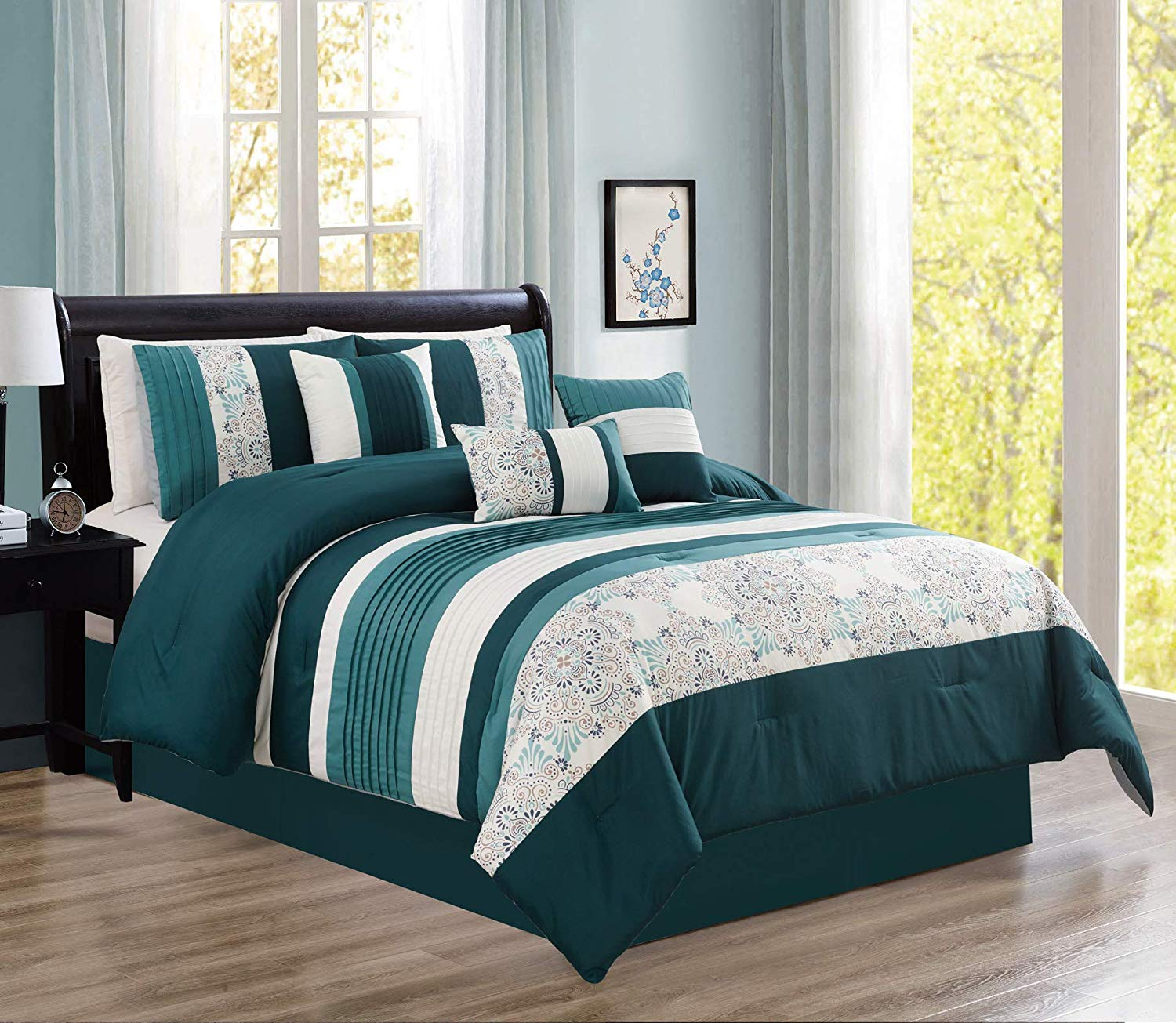 Hgmart Bedding Comforter Set Bed In A Bag 7 Piece Modern Microfiber Bedding Sets Oversized Bedroom Comforters With Accent Pillows Cal King Size Teal Walmart Com Walmart Com