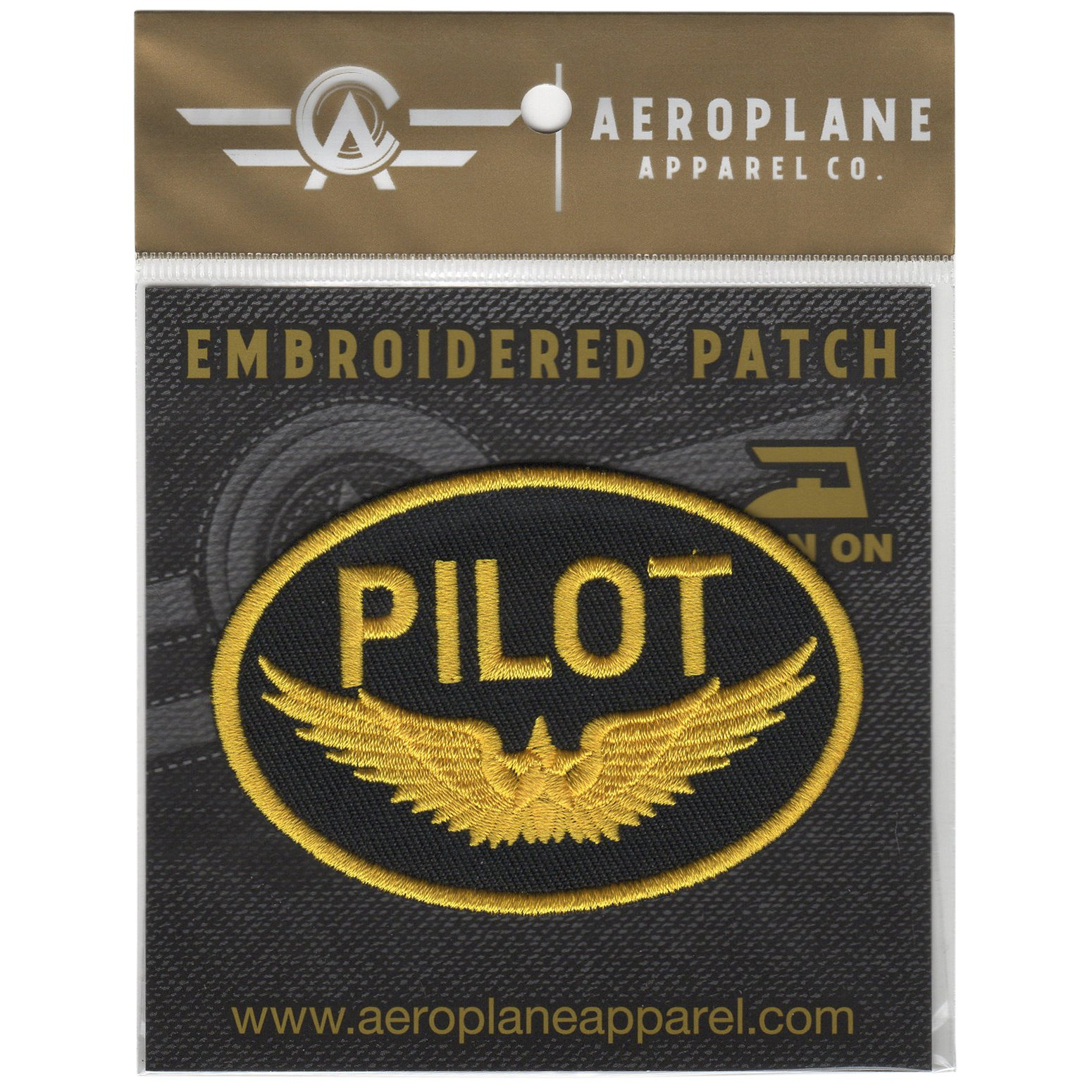 PILOT  NEW EMBROIDERED  SEW IRON ON NAME PATCH BLUE ON WHITE