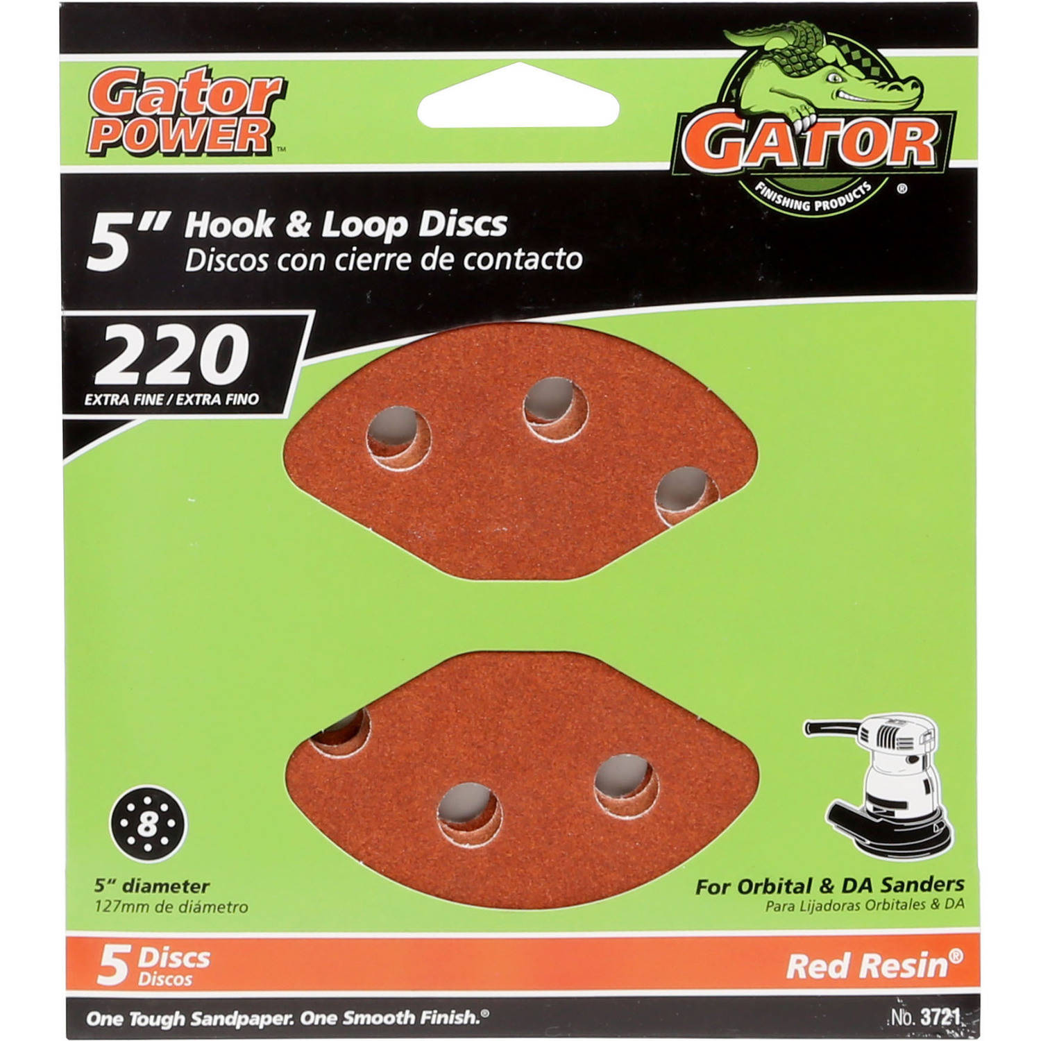 Gator Ali 220 5-Inch 8-Hole Hook & Loop Sanding Disc, 220 Grit, 5-Pack